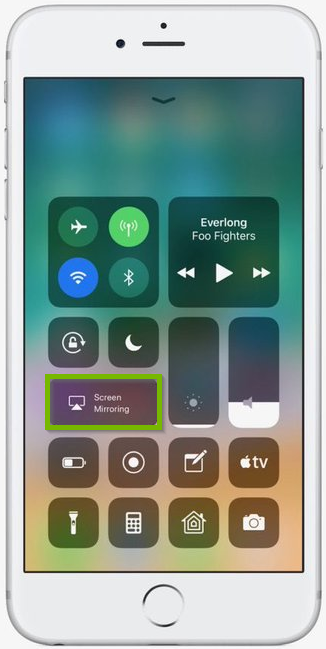 iPhone control panel showing screen mirroring highlighted