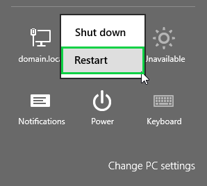 Windows 8.1 charms bar showing restart highlighted