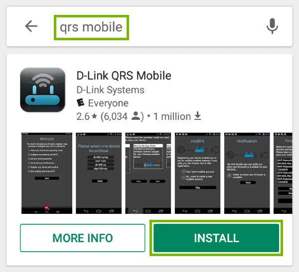 Keywords highlighted in search field of Google Play and Install button highlighted for found app.
