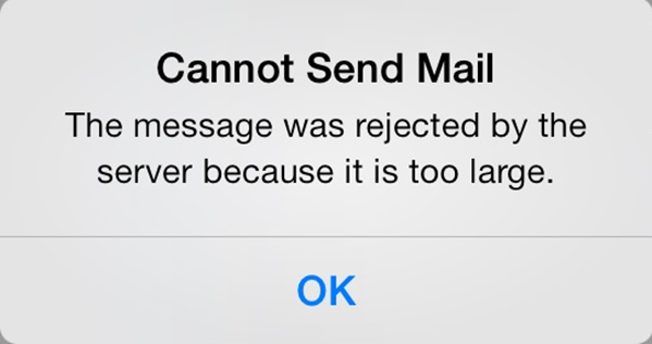 Cannot send mail error message.