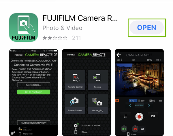 fujifilm app store page with open highlighted