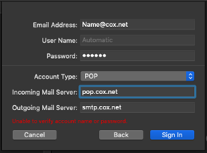 Mac Mail cox information for pop3