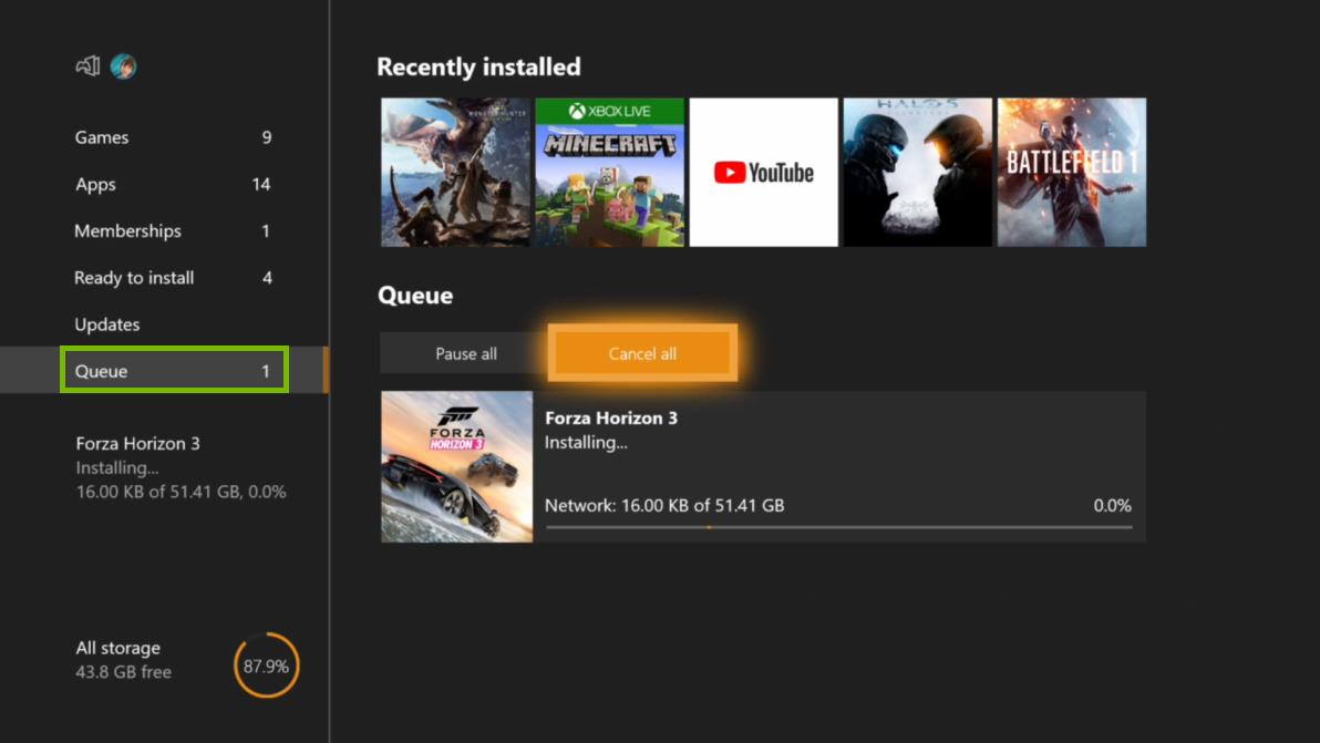 My games menu with Queue selected. Screenshot.