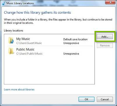 Windows media player adding a music library location.