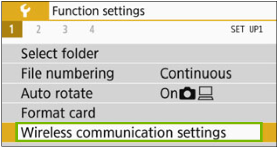 Function settings with Wireless Communication Settings highlighted