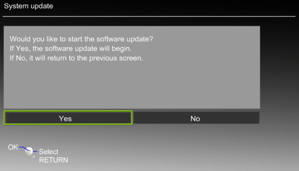 Panasonic TV system update menu prompting the user to update with the yes button highlighted.