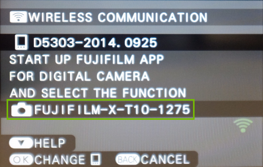 screenshot of the camera with the Wi-Fi network highlighted