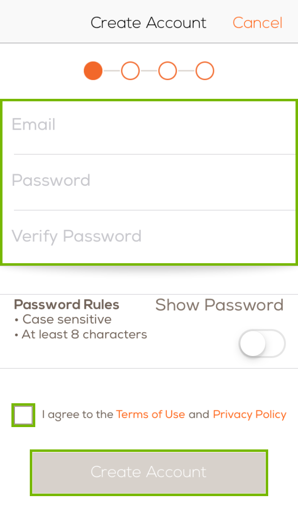 email, password, agree check box, and the Create account button is highlighted