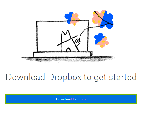 Dropbox Download page with Download Dropbox highlighted.