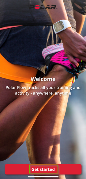 polar flow app welcome page