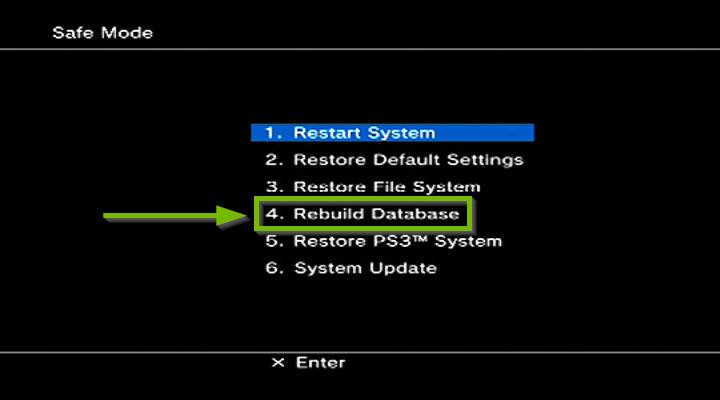Safe mode with Rebuild Database highlighted