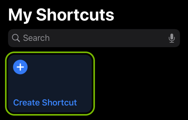 Create Shortcut option highlighted in Shortcuts app on iOS.