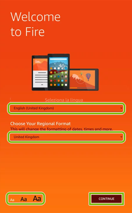 Welcome screen of Amazon Fire tablet initial setup.
