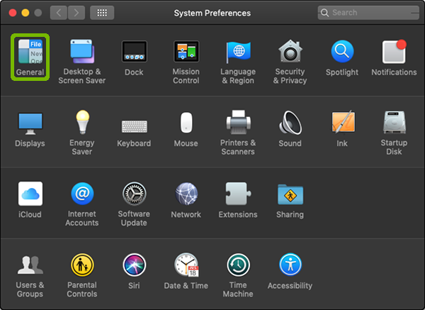 System Preferences with General highlighted.