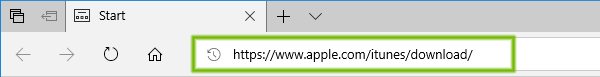 Address bar with address filled in, highlighted.
