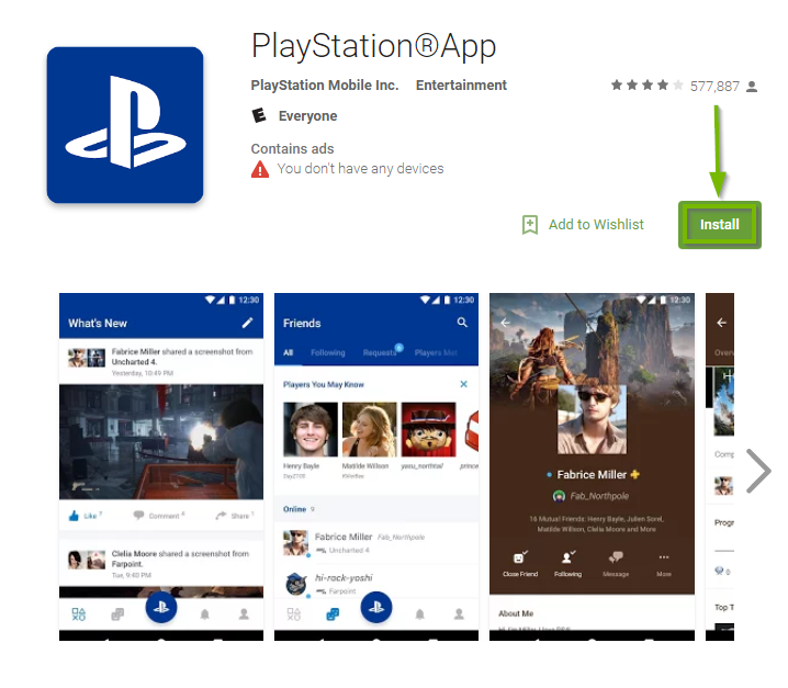 PlayStation App landing page with Install button highlighted. Screenshot.