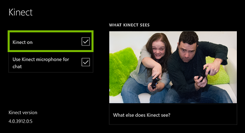 Kinect On option highlighted in Xbox One settings.