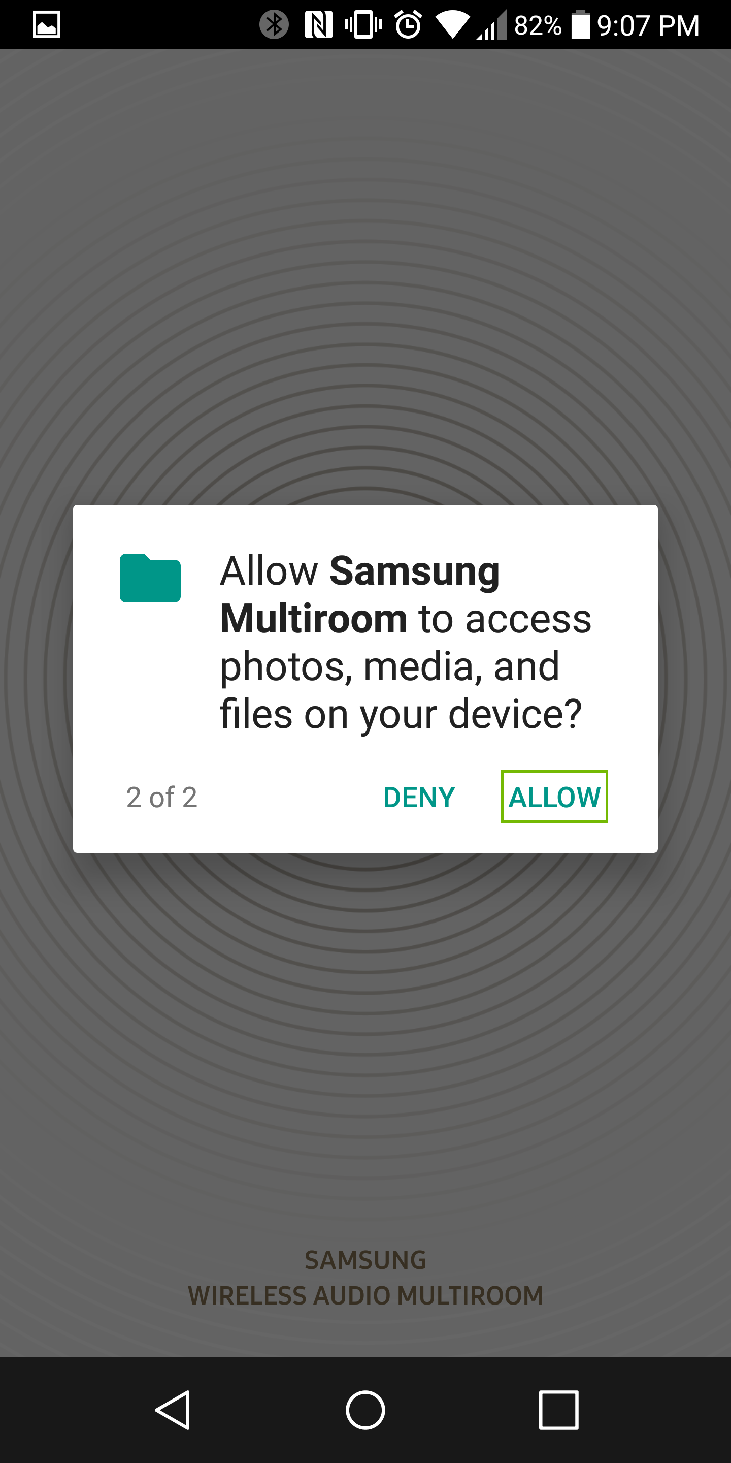 media access permissions dialog with allow highlighted