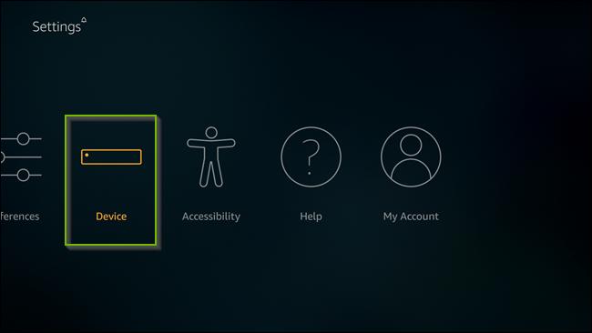 Settings menu with Device selected. Screenshot.