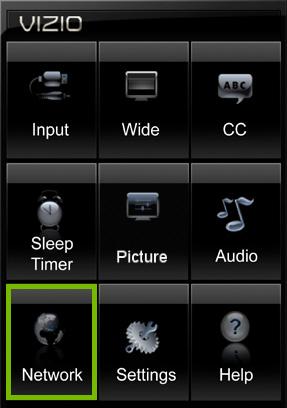 Network option highlighted in VIZIO TV settings on VIA platform.