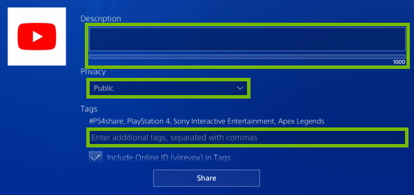 Description and Tags fields, Privacy dropdown box highlighted in video clip sharing options on PlayStation 4.