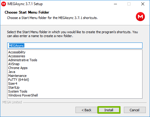 Installation location with Install highlighted.