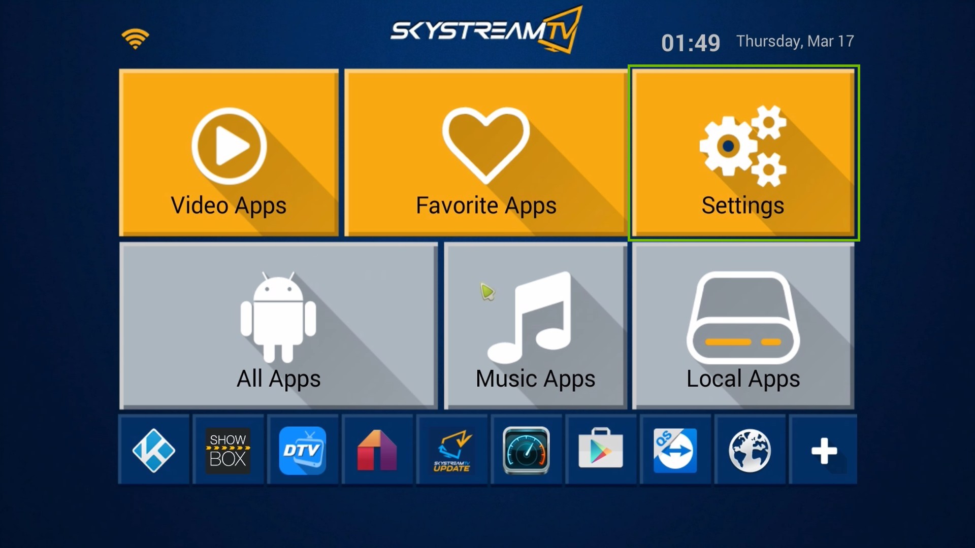 SkyStream One home screen, highlighting the Settings icon.