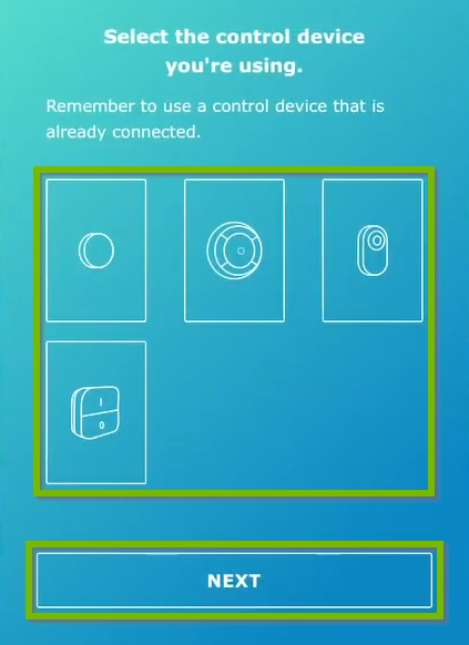Steering devices and Next button highlighted on steering device selection screen in IKEA Home Smart app.