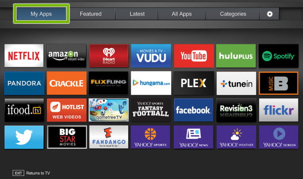 My Apps tab highlighted on Fullscreen VIA Plus Apps Window on VIZIO Smart TV.
