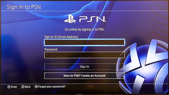 PS4 account creation page with Create an Account selected. Screenshot.