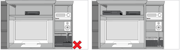 Illustration of Xbox One placement in entertainment center with a bad example highlighted with a red X