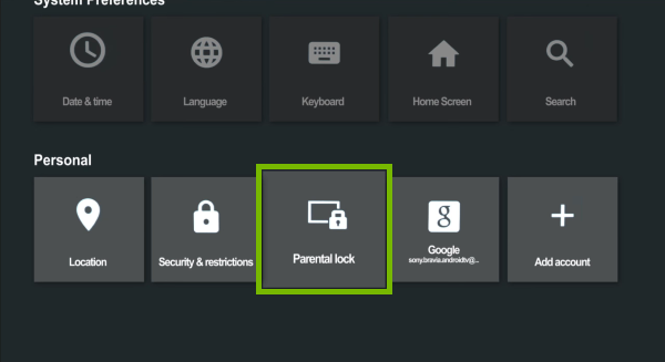 Parental lock option highlighted in Android TV settings.