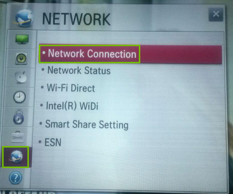 Settings with Network and Network Connection highlighted.