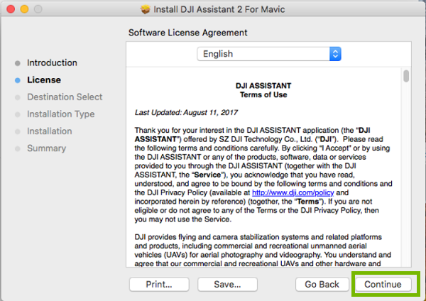 DJI installer with Continue highlighted. Screenshot
