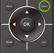 Remote with Source button highlighted. Illustration