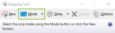 Mode button highlighted