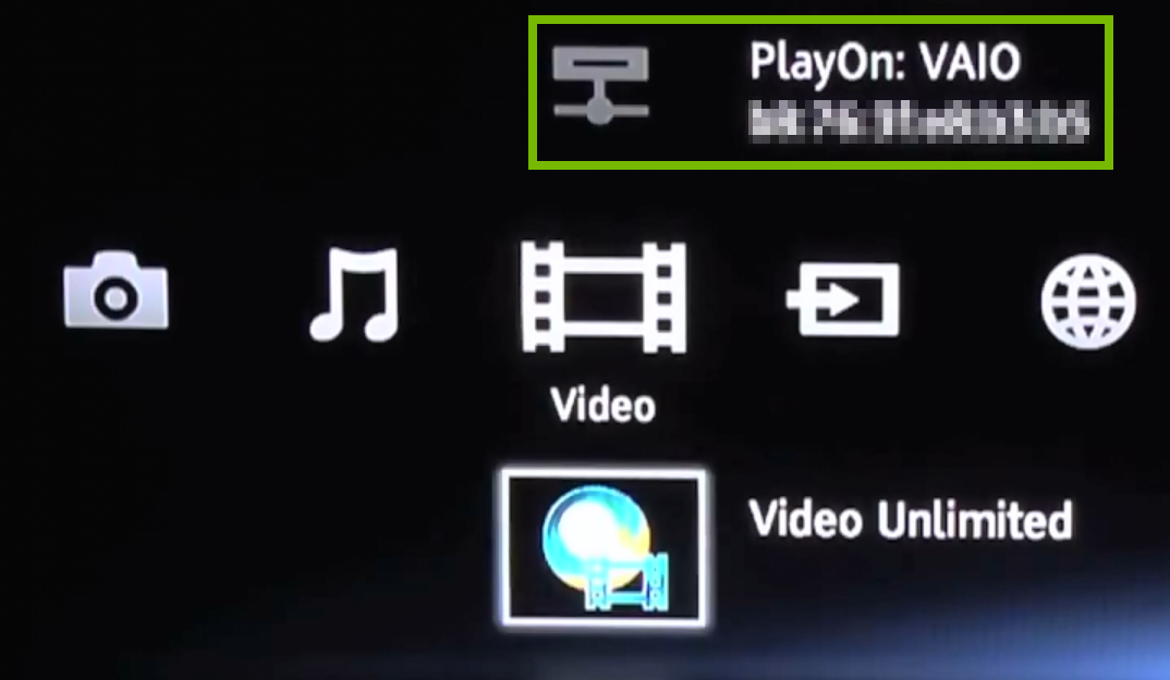 Media playback source highlighted in selected category.