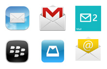 Various icons of different e-mail clients.