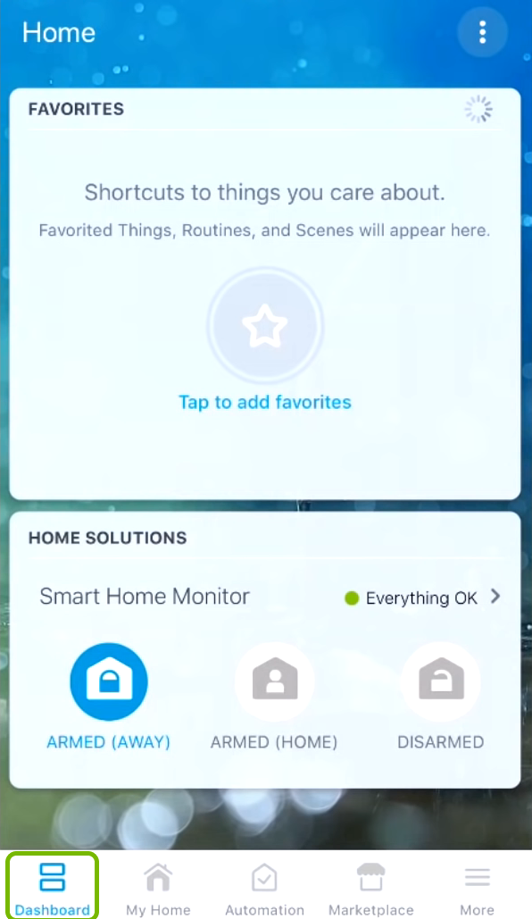 Dashboard tab highlighted in SmartThings app.