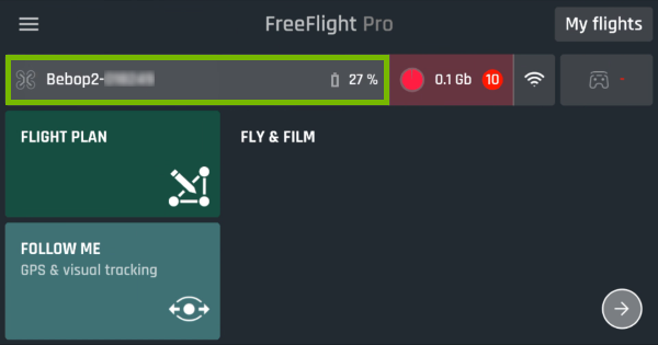 Drone's name highlighted in FreeFlight Pro app.