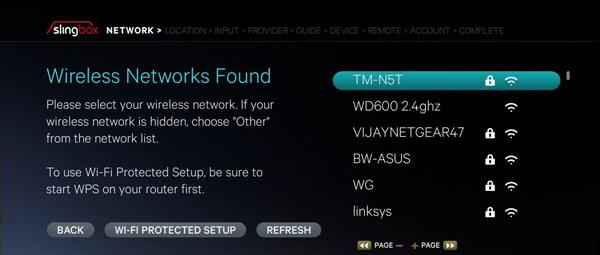 Slingbox internet settings showing a list of Wi-Fi networks.