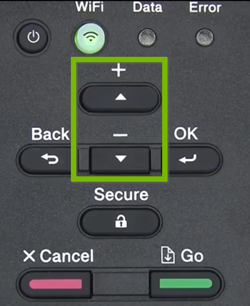 Printer control panel with Up and Down arrows highlighted.