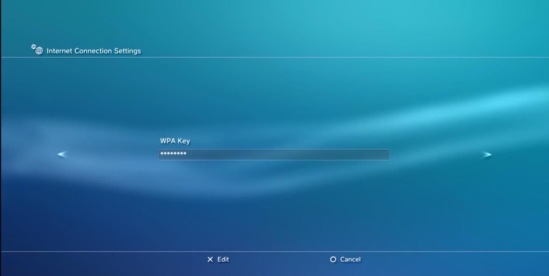Wireless password screen. Screenshot.