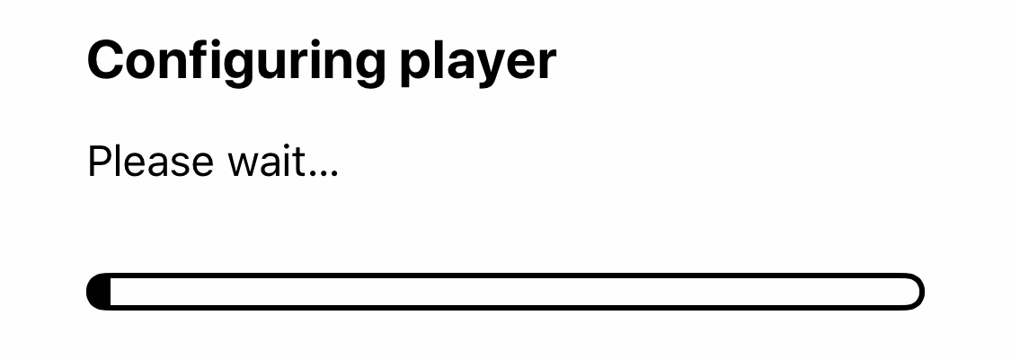 Configuring player with progress bar