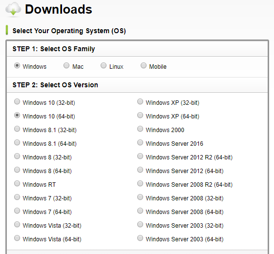 Brother website displaying a list of available operating systems to choose from. Screenshot.
