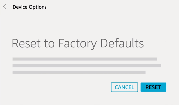 Device Factory Reset confirmation query screen