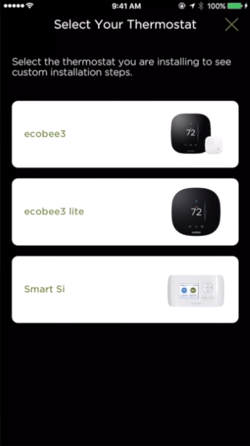 Thermostat selection screen