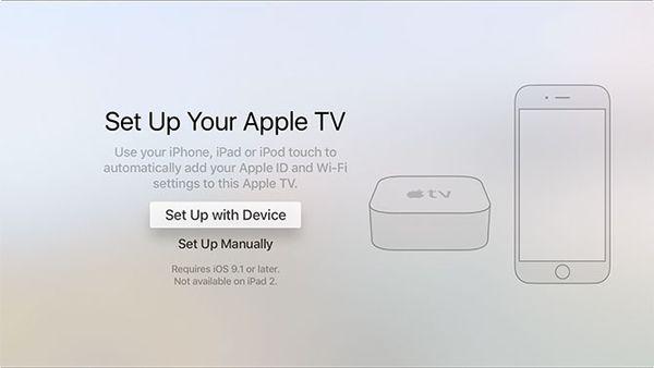 Setup method prompt screen during Apple TV setup.
