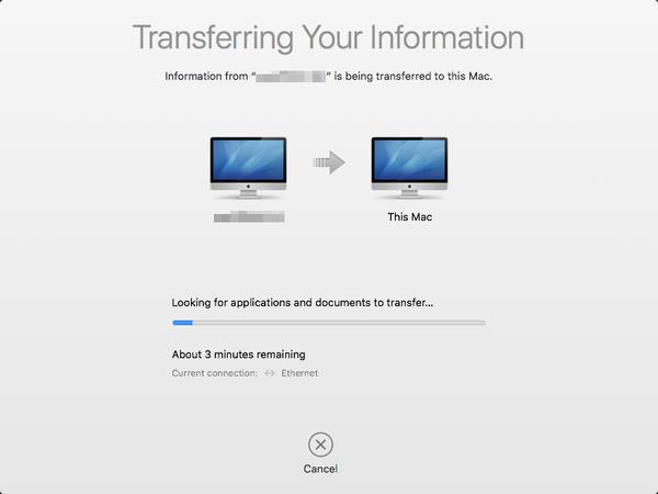 Transfer in progress dialog.