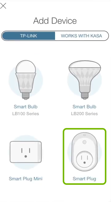 Smart Plug highlighted in device selection list of Kasa app.